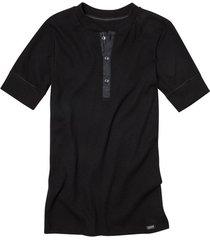 shirt met korte mouw van bio-katoen met knoopsluiting, zwart m
