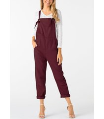 burgundy square neck sleeveless overall outfits