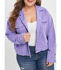 corduroy plus size pocket jacket