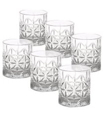conjunto 6 copos baixos stella em vidro 300ml - branco