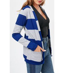 charming broad striped long sleeve cardigan for women