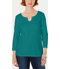 karen scott three-quarter-sleeve top, created for macy's