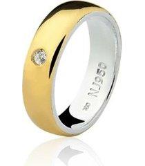 aliança mista ouro 18k e prata 925 elegance natalia joias alm-151