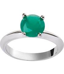 anel solitário the ring boutique pedra cristal verde esmeralda ródio ouro branco