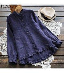 zanzea mujeres largo de volantes camisa ocasional tops botón flojo plisado dobladillo de la blusa plus -azul