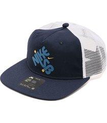 gorra azul navy-blanco nike pro cap trucker gfx midnight
