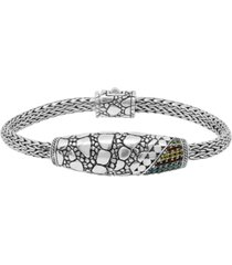 multicolor cubic zirconia (1/20 ct. t.w.) crocodile signature bracelet with dragon bone chain in sterling silver and 18k yellow gold accents