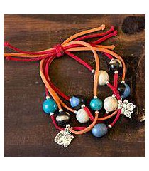 leather and ceramic charm bracelet, 'nahual destiny' (honduras)