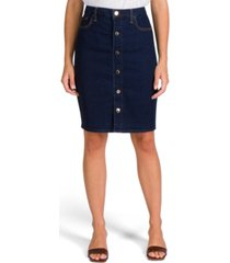 jen7 button-front denim pencil skirt