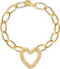 gabi rielle women's 14k yellow gold vermeil & cubic zirconia chain link bracelet