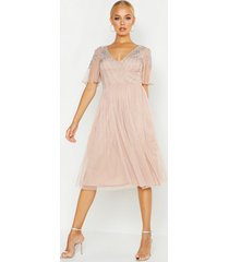 embellished v neck midi skater bridesmaid dress, nude