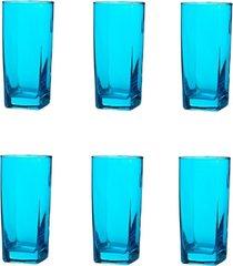 conjunto de copos bali azul 320ml - com 6 peças - casa linda - tricae