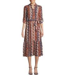 printed midi button-front dress