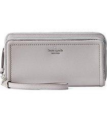 anita double-zip leather wristlet wallet