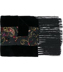 etro floral embroidered scarf - black