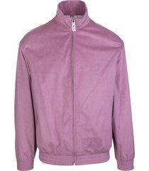 gcds man mauve pink high-neck zipped sweatshirt