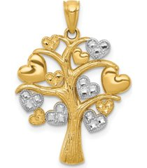 family tree with hearts pendant in 14k gold over rhodium