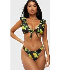missguided lemon print bikini top & bottom hela set