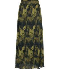pleated georgette knälång kjol grön ganni