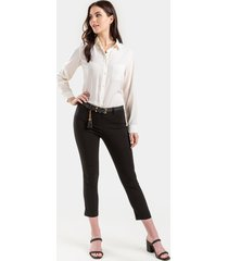 women's jolie cropped tapered pants in teal by francesca's - size: l
