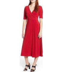 women's chaus laura faux wrap midi dress, size small - red