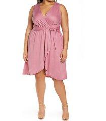 plus size women's bobeau rowan sleeveless faux wrap dress, size 3x - pink