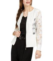 bcx juniors' solid & lace-trim zip jacket