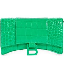 balenciaga hourglass croc embossed leather wallet on a chain in vivid green at nordstrom