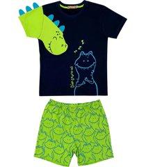 conjunto pijama de dinossauro douvelin azul - azul marinho/verde - menino - algodã£o - dafiti
