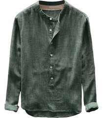 nueva moda hombre sudadera otoño invierno botón casual lino y-verde