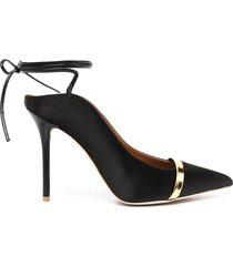 malone souliers amie 100mm ankle-tie mules - black
