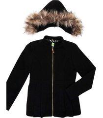 casaco lã capuz removível gingga baby e kids preto