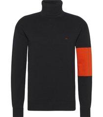 sweater negro calvin klein colorblock ckj logo turtle nck