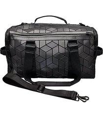 geo faux leather weekender duffle bag