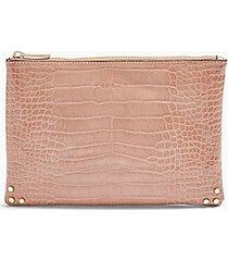perla crocodile print zip top clutch bag - pink