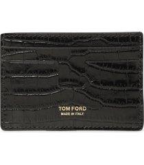 tom ford printed alligator t line classic card holder