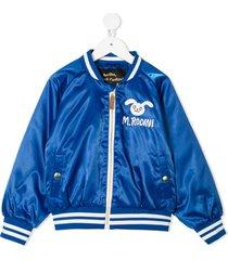 mini rodini embroidered rabbit bomber jacket - blue