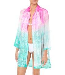 juliet dunn batik tie dye shirt floral embroidery