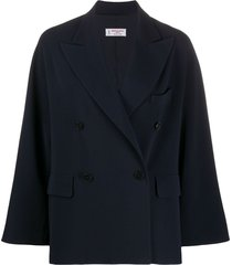alberto biani double-breasted fitted coat - blue