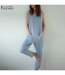 zanzea mujeres sin mangas del hombro bib pantalones cargo dungraee trajes monos tops -azul