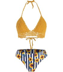 crochet sunflower striped halter bikini swimwear