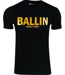 ballin est. 2013 heren t-shirt regular fit zwart goud