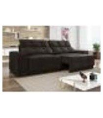 sofá 4 lugares net jaguar assento retrátil e reclinável chocolate 2,30m (l)