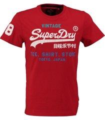 superdry stevig zacht rood slim fit t-shirt cracked print valt 2 maten kleiner
