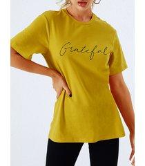 yoins camiseta amarilla de manga corta redonda cuello