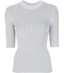 dion lee ribbed stripe t-shirt - grey