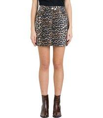 ganni print denim mini skirt in leopard print