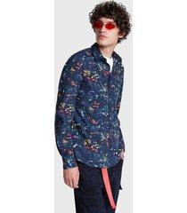 camisa desigual regular roque azul - calce regular