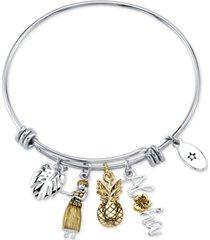 "unwritten ""aloha"" charm adjustable bangle bracelet in gold-tone & stainless steel"