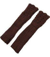 autumn winter hollow out crochet fingerless mittens knitting long arm warmer guanti